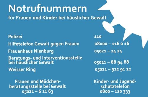 Notrufnummern Frauen und Kinder